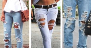Bayan Yırtık Kot Pantolon Modelleri 8